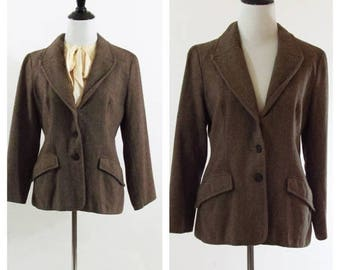 SUMMER SALE Vintage 1970's Tweed Blazer - Brown Long Sleeve Wool Blend Tweed Jacket - Size medium to small
