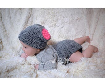 Mouse Hat and Diaper Set - gray diaper set - animal diaper set - baby photo prop - boys girls diaper set - new baby gift - baby shower gift