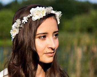 Ivory Enora: marriage with cherry blossoms and baby's breath flower Crown
