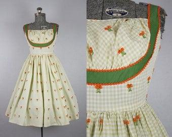 1950's Gingham Green Sundress / Size XSmall