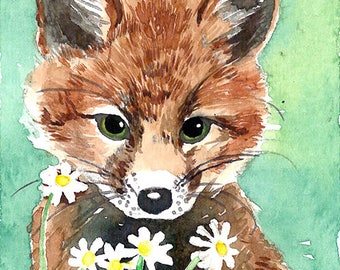 ACEO Limited Edition 2/25 -Fox in aquamarine background, Red fox, Cut animal Art print of an original ACEO watercolor painted by Anna Lee