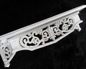 Large White Ornate Wall Shelf Shabby Chic Vintage Syroco Shelf Flowers Cottage Chic OR Vintage Bed Crown~ Nursery Bathroom Bedroom