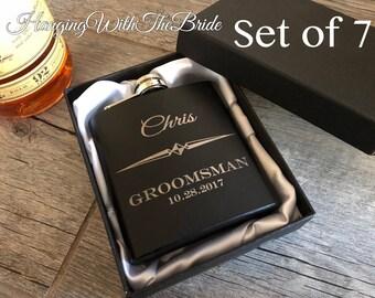 Set of 7 Personalized Flask Groomsmen Gift Box - Groomsmen Flask Set - Gifts for Groomsmen - Monogram Flask - Custom Flask Set for Groomsmen