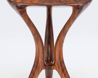 Conversation Table, Sculpted, Designed to sit between 2 Armchairs, Built from Instrument Grade, Curly Acacia Koa from Hawaii