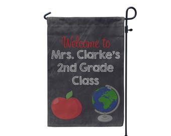 Personalized Garden Flag - Custom monogram Door Flag- Welcome to my Classroom Globe and Apple