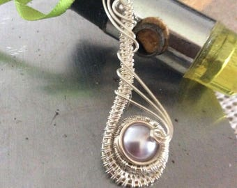 Swarovski Crystal Pearl Silver Wrapped Pendant
