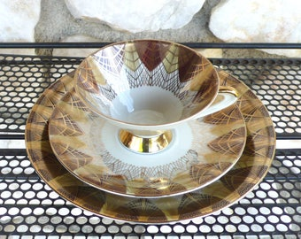 Vintage Eberthal Art Deco Tea Cup & Saucer Set Fine China Trio Bavaria West Germany