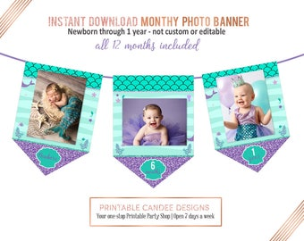 Mermaid Monthly Photo Banner, First Birthday Banner, Mermaid 1st Birthday, Under the Sea Birthday, 13 Monthly Circles, Instant download
