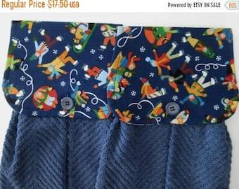 CIJSALE Hanging Kitchen Towel Set - Skaters Sledders  Medium Dark BlueTerry Cloth Towels Button Closure