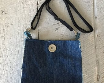 CIJSALE Denim Purse Recycled Upcycled Lined Cross Body Bag
