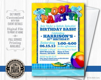 Pool Party Customized Printable Invitation