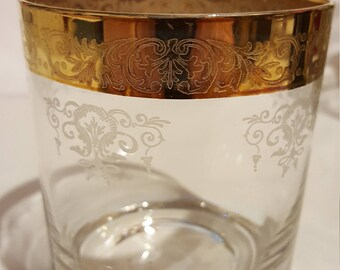Gold Rimmed , Etched Vintage Glass