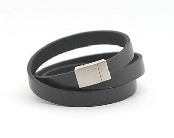 Black Genuine Leather Mens Bracelet, Black Modern Leather Bracelet, Men Jewelry, Leather Cuff for Men, gift for dad
