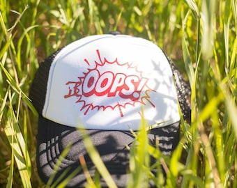 OOPS! red/black/white  trucker hat kids/youth