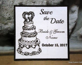Save The Date Magnet, Wedding Save the Date Magnet, Wood Save the Date Refrigerator Magnet, Special Event Save the Date, White Save the Date