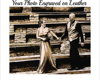 Leather Engraved Wedding Photo, Personalized Leather Engraved Photo, Laser Engraved Photo on Leather, Leather 3rd Year Anniversary Photo