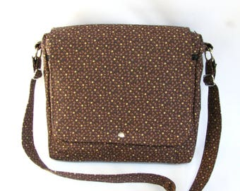Large messenger bag- Brown and tan gingham cotton