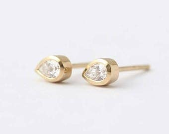 ON SALE Diamond Tear Drop Earrings - Pear Diamond Earrings - Gold Stud Earrings - 14k Solid Gold