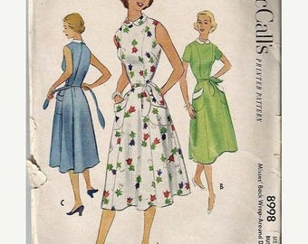 ON SALE McCall's 8998 1950's Misses Back Wrap-Around  Dress Pattern, Size 12, Bust 30