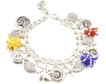 Seashell Bracelet Starfish Bracelet Seashell Gift Seashell Charm Beach Jewelry Beach Bracelet Beach Charm Mom Wife Daughter Gift for Her B37