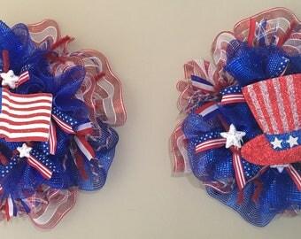Twin Patriotic Wreaths for Double Doors