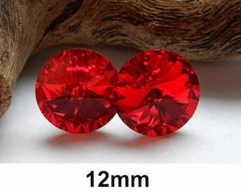 12mm Studs, Light Siam, Swarovski, Rivoli Stud Earrings, Bright Red Studs, Crystal Earrings, Large Red Rhinestone Studs
