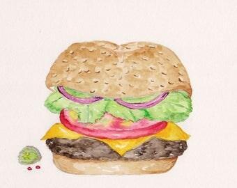 Cheeseburger Watercolor Print, Hamburger Painting, Picnic Sandwich Food Art, Kitchen Dining Decor, Barbecue Picture, Sesame Seed Bun