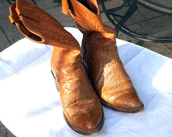 Mens Vintage Sz 8.5 D Leather Upper Alligator Foot Cowboy Boots O'Sullivan