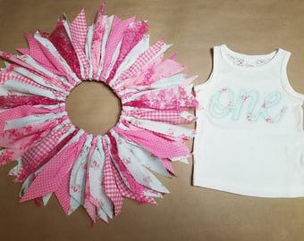 OOAK Ready to Ship - First Birthday Outfit - Applique Tank Top - Light Mint with Pink Roses - Scrap Tutu, Magenta Gingham, Lace, Shabby Chic