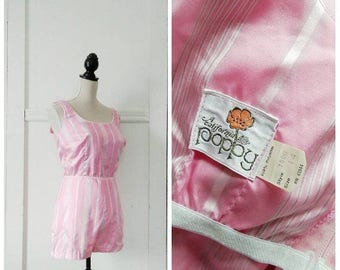 20% OFF / Under the Boardwalk 1960s Pink/Grey/White Vertical Stripe Playsuit/Sun Suit