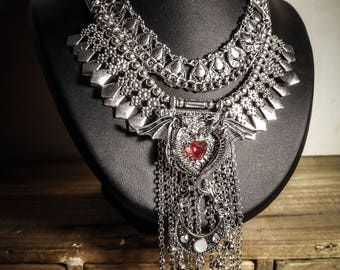 Necklace chains silver feathers steampunk Khaleesi Mother of Dragons Game of Thrones