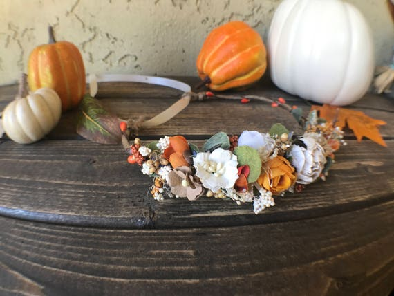 Pumkins and lace  flower crown- Well Dressed Wolf flower crown- bridal crown- flower girl crown