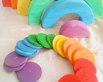 Rainbow wood discs / Rainbow wood toy / Montessori toy / Waldorf Toy / Wood coins