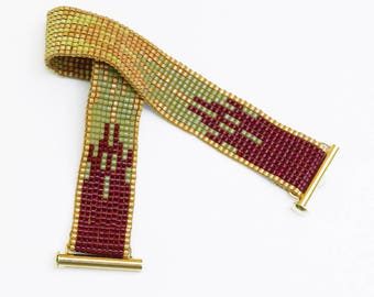 Bead Woven Bracelet in Fall Colors