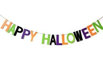 Glitter Happy Halloween Banner // Glitter Banner // Glitter Party Decor // Halloween Banner // Glitter Bunting // Halloween Bunting