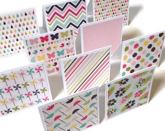 Set of 10 // 3x3 Mini Spring Note Cards w/ Envelopes // Mini Note Cards // Mini Envelopes // Blank Cards // Mini Note Card Set // Mini Cards
