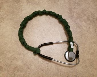 Stethoscope Cover Scrunchie GREEN Protect bare neck & tubing RN Nurse Vet Doc P A Medic Wash Reuse Handmade USA Gift Fits single tube style
