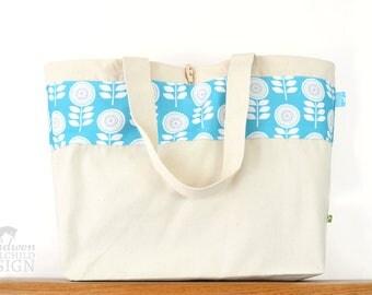 Scandi Flowers Large Tote Bag, Canvas Tote, Reusable Shopper Bag, Cotton Tote, Shopping Bag, Eco Tote Bag, Reusable Grocery Bag
