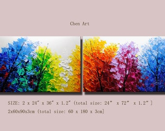 contemporary wall art,Palette Knife Painting,colorful Landscape painting,wall decor,Home Decor,Acrylic Textured Painting ON Canvas Chen 0702