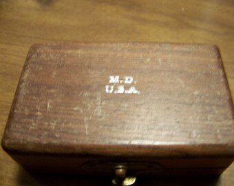 """Vintage Small Dovetailed Wood Box """"M.D. U.S.A."""""""