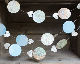 Map Garland, Travel Theme Decorations, Vintage Atlas Garland, Paper Garland, Bon Voyage Party, Hot Air Balloon Garland, 10 ft long