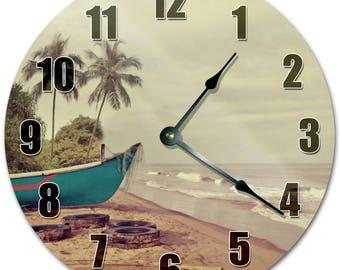 "10.5"" BOAT at the SHORE Clock - Living Room Clock - Large 10.5"" Wall Clock - Home Décor Clock - 5138"