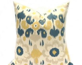 15% Off Sale Throw Pillow, Yellow Pillow, Mustard Yellow, Ikat Pillow, Blue Pillow, Decorative Pillow Cover, Boho Decor, Modern Pillow, Cush