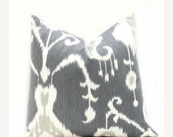 15% Off Sale Ikat Pillow Cover  Decorative Throw Pillow.Grey Ikat Pillow ONE 20x20 Pillow Cover Dark Gray Pillow Ikat Pillow  Gray pillow co