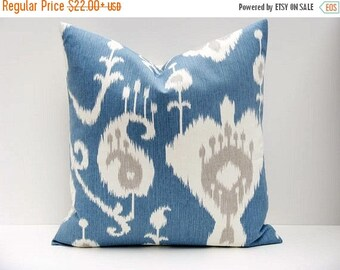 15% Off Sale Blue Pillow, EURO pillow - Euro Pillow Cover - Blue pillow cover - Euro Sham - Ikat pillow - Ikat pillow cover - Gray Pillow  -