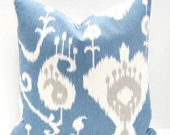 15% Off Sale Blue Pillow Cover,Decorative Ikat Pillow Cover Ikat Throw pillow - Blue Tan Pillow Blue Pillow Covers - Home decor - Blue Ikat