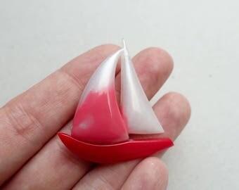 Vintage Sailboat Brooch Red Plastic Boat Pin