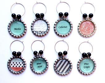 Wine charms - wine accessories - wine glass charms - french decor - turquoise - black and white - barware - drinkware - wine party -  wine a