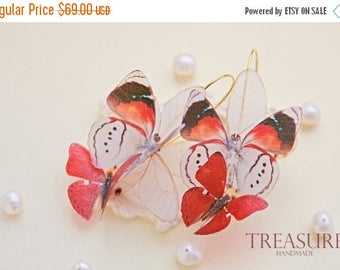 SALE Long red earrings, red jewelry, red dangle earrings, red butterfly earrings, bright red earrings, red earring, earrings red, butterfly