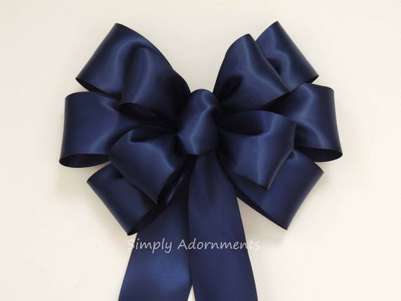 Navy Wedding Pew Bow Navy Party Decor Navy Blue Wreath Bow Navy Satin Wedding Church Pew Bow Navy Blue Ceremony Chair Bow